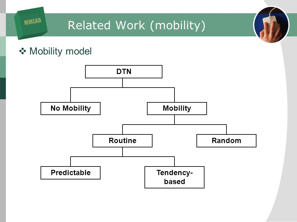MMLAB Related Work (mobility) Mobility model DTN No MobilityMobility RoutineRandom PredictableTendency- based