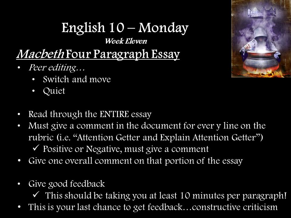 Macbeth Four Paragraph Essay Peer editing… Switch and move Quiet Read through the ENTIRE essay Must give a comment in the document for ever y line on the rubric (i.e.