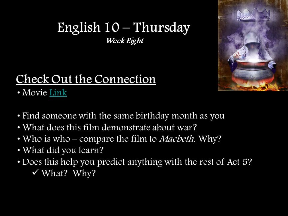 Check Out the Connection Movie LinkLink Find someone with the same birthday month as you What does this film demonstrate about war.