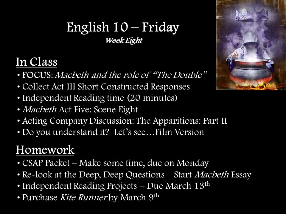 In Class FOCUS: Macbeth and the role of The Double Collect Act III Short Constructed Responses Independent Reading time (20 minutes) Macbeth Act Five: Scene Eight Acting Company Discussion: The Apparitions: Part II Do you understand it.