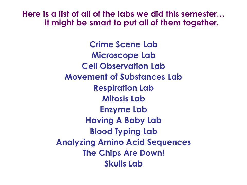 Here is a list of all of the labs we did this semester… it might be smart to put all of them together.