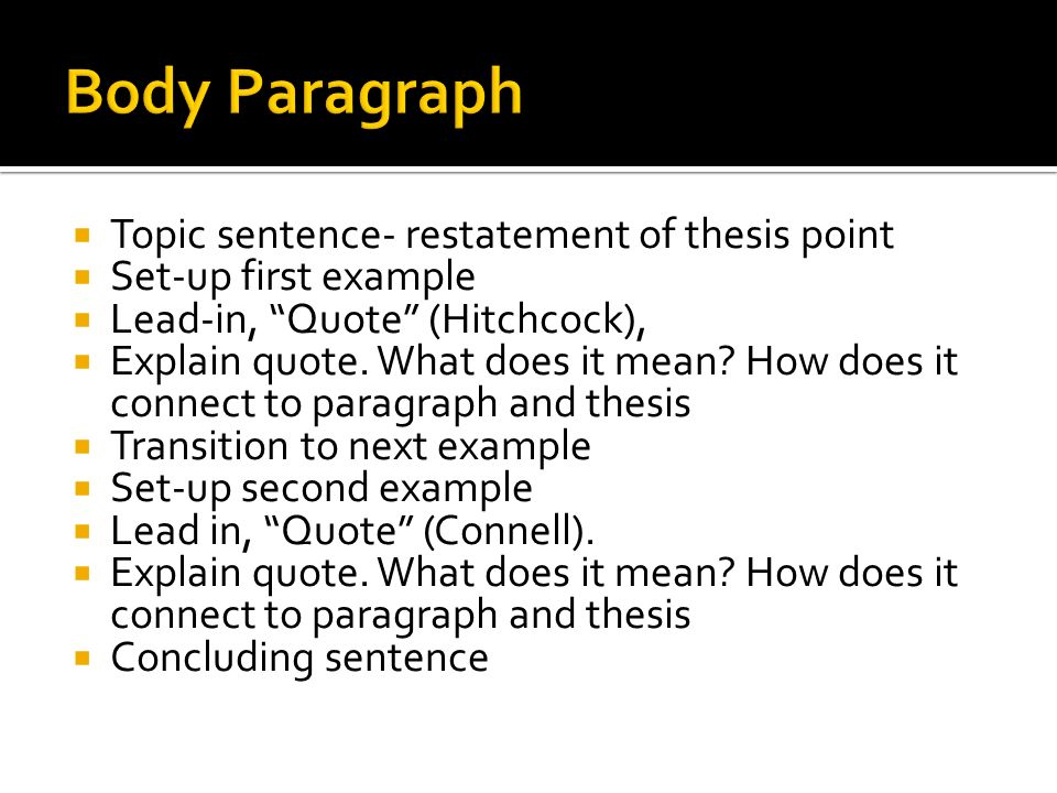 Topic sentence- restatement of thesis point Set-up first example Lead-in, Quote (Hitchcock), Explain quote.