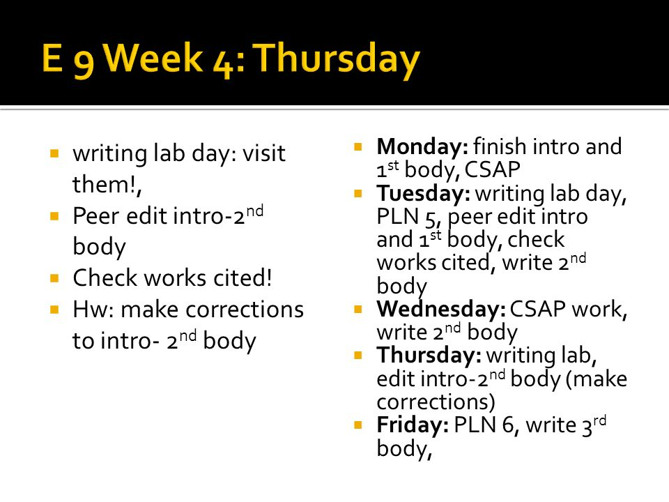 writing lab day: visit them!, Peer edit intro-2 nd body Check works cited.