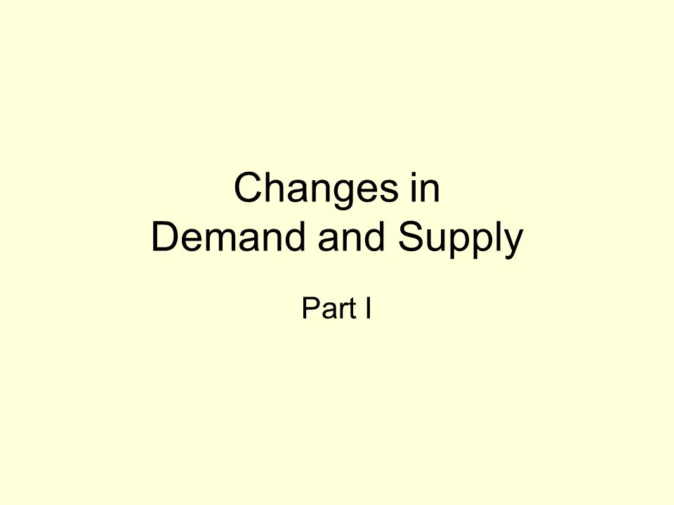 Changes in Demand and Supply Part I