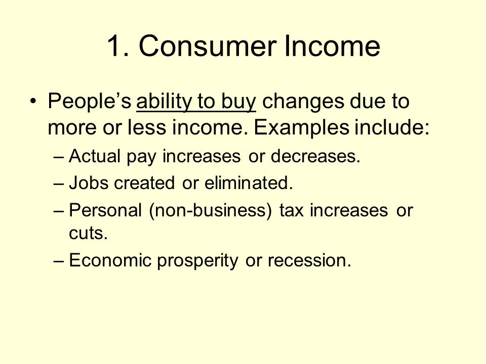 1. Consumer Income Peoples ability to buy changes due to more or less income.