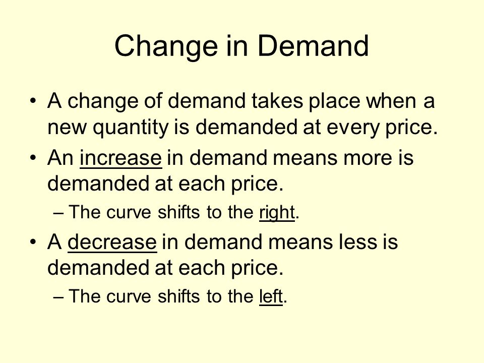 Change in Demand A change of demand takes place when a new quantity is demanded at every price.