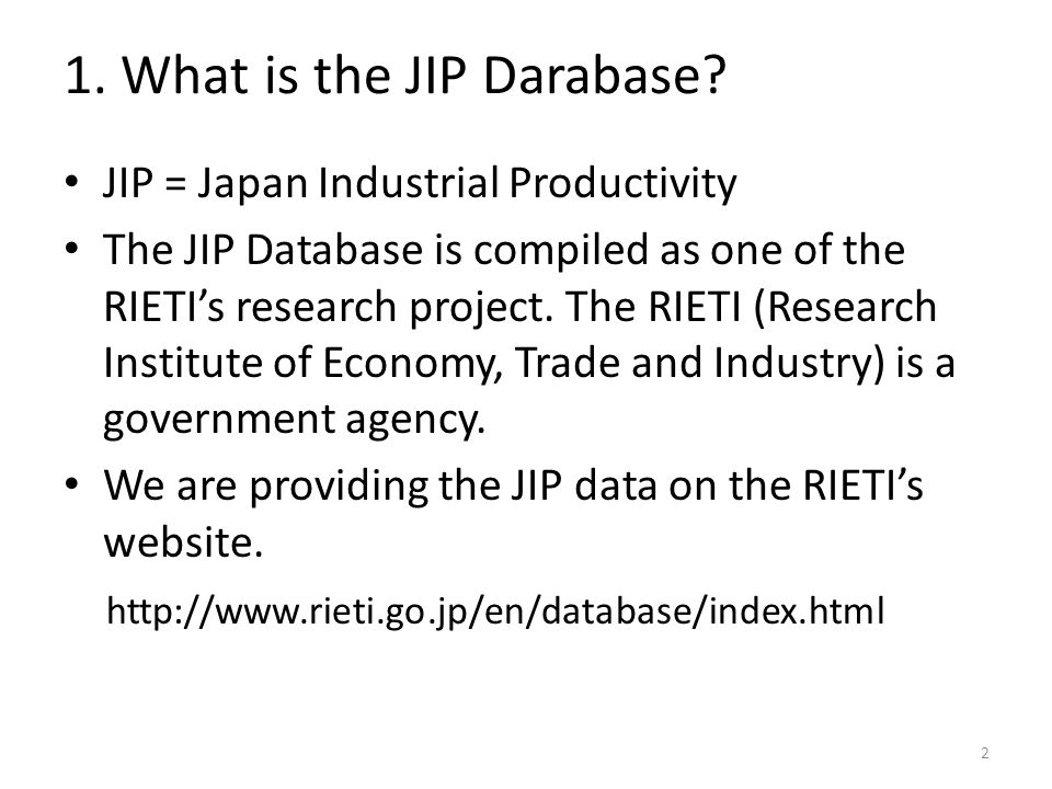 1. What is the JIP Darabase.