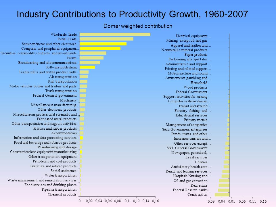 Industry Contributions to Productivity Growth, 1960-2007 Domar weighted contribution