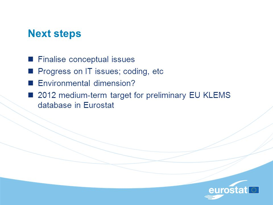 Next steps Finalise conceptual issues Progress on IT issues; coding, etc Environmental dimension.