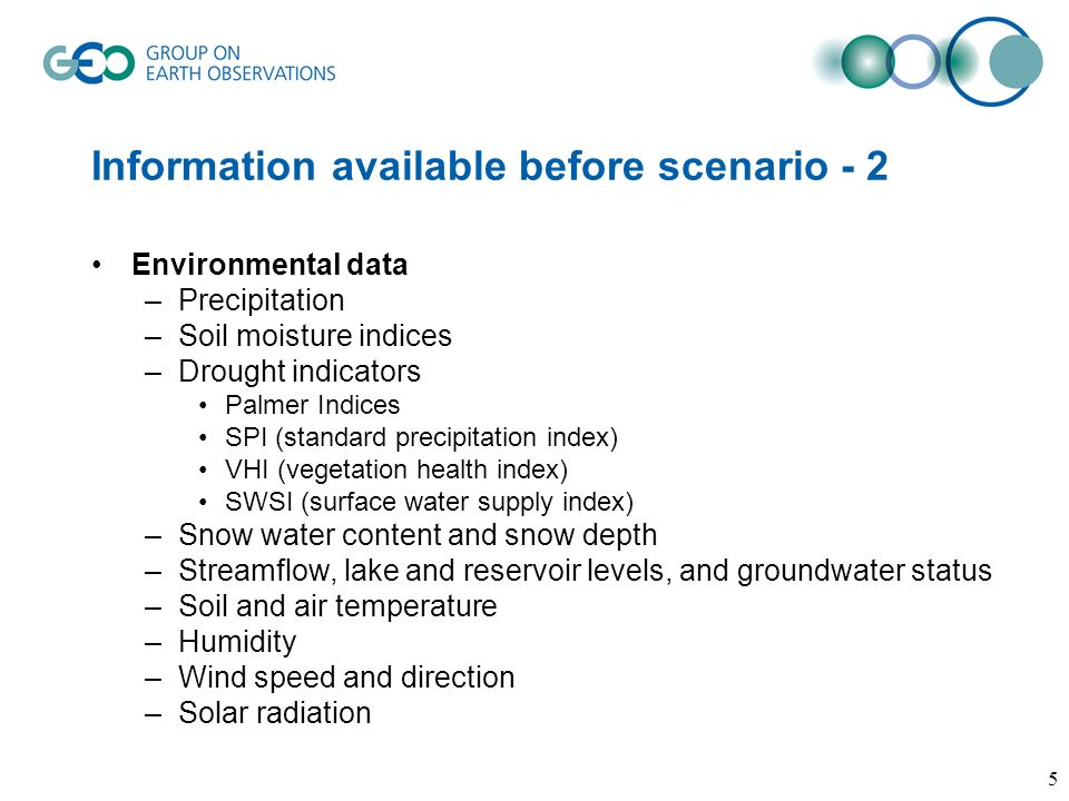 Information available before scenario - 2 Environmental data –Precipitation –Soil moisture indices –Drought indicators Palmer Indices SPI (standard precipitation index) VHI (vegetation health index) SWSI (surface water supply index) –Snow water content and snow depth –Streamflow, lake and reservoir levels, and groundwater status –Soil and air temperature –Humidity –Wind speed and direction –Solar radiation 5