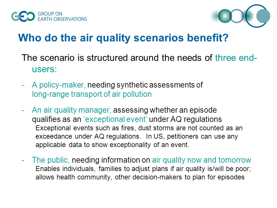 Who do the air quality scenarios benefit.