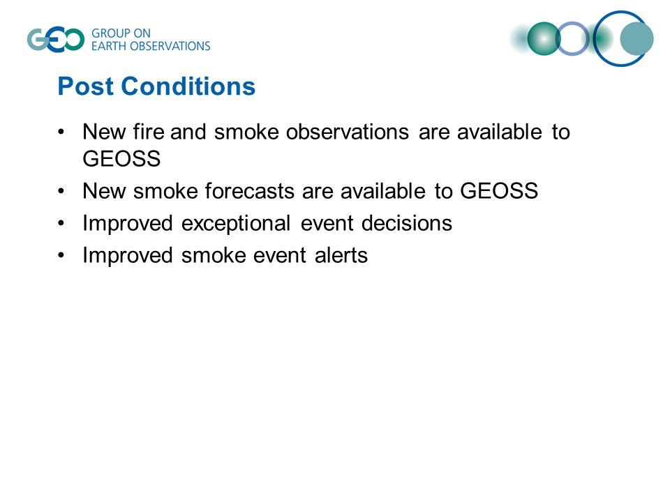 Post Conditions New fire and smoke observations are available to GEOSS New smoke forecasts are available to GEOSS Improved exceptional event decisions Improved smoke event alerts