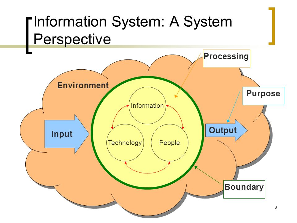 8 Environment Information System: A System Perspective Information PeopleTechnology Input Output Boundary Purpose Processing