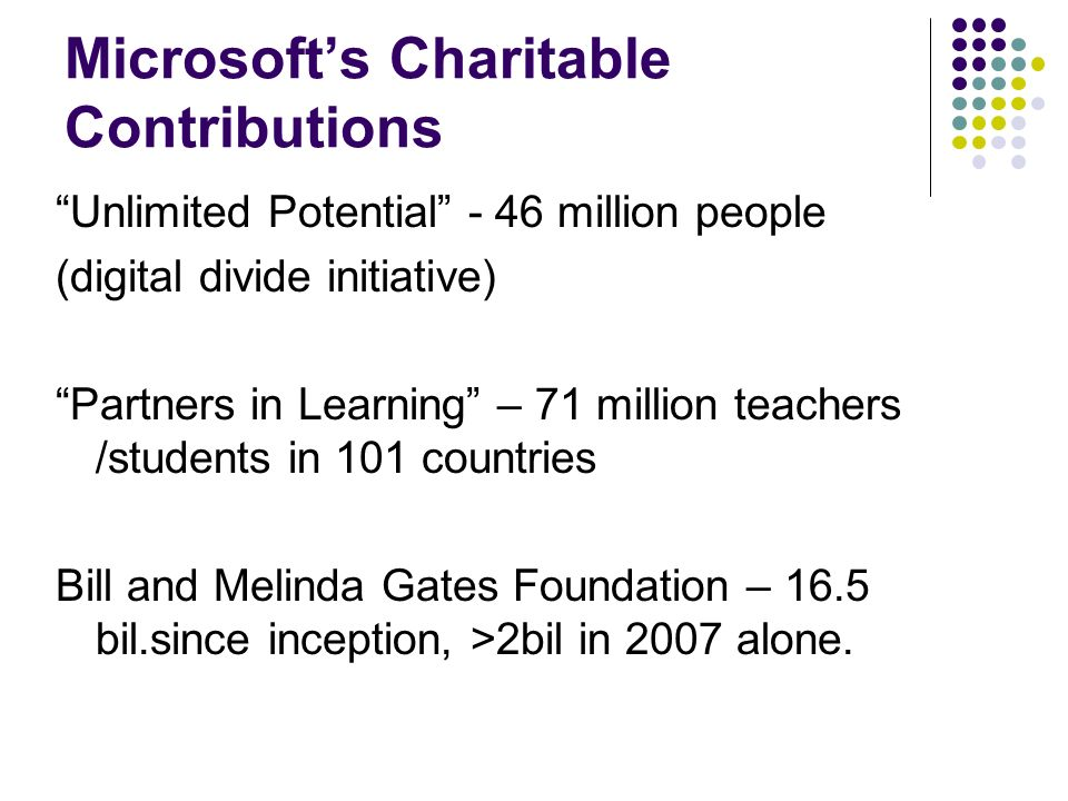Microsofts Charitable Contributions Unlimited Potential - 46 million people (digital divide initiative) Partners in Learning – 71 million teachers /students in 101 countries Bill and Melinda Gates Foundation – 16.5 bil.since inception, >2bil in 2007 alone.