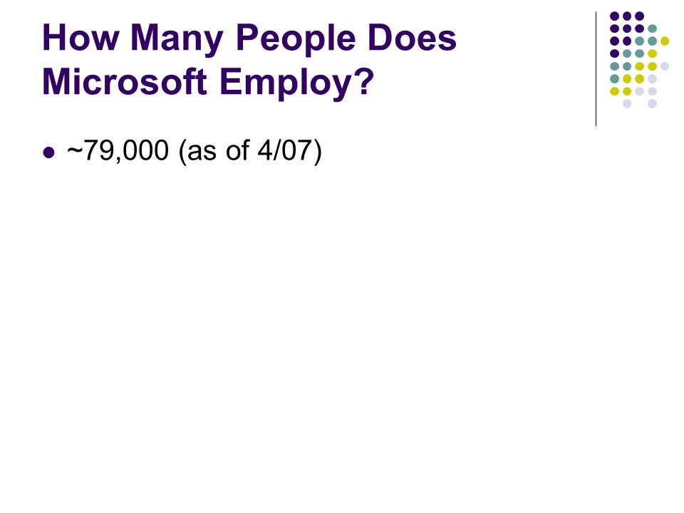 How Many People Does Microsoft Employ ~79,000 (as of 4/07)