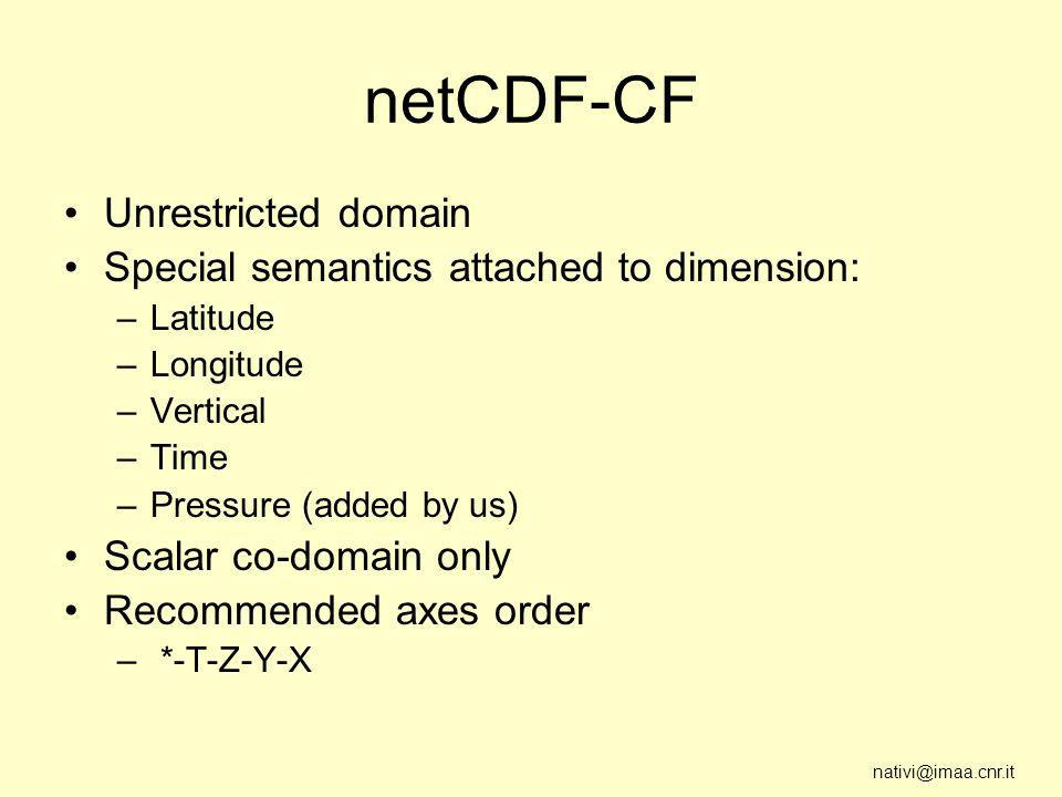 nativi@imaa.cnr.it netCDF-CF Unrestricted domain Special semantics attached to dimension: –Latitude –Longitude –Vertical –Time –Pressure (added by us) Scalar co-domain only Recommended axes order – *-T-Z-Y-X