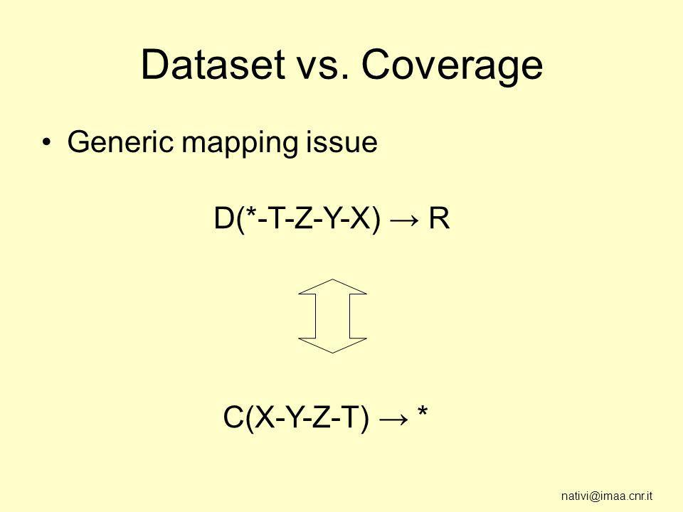 nativi@imaa.cnr.it Dataset vs. Coverage Generic mapping issue D(*-T-Z-Y-X) R C(X-Y-Z-T) *