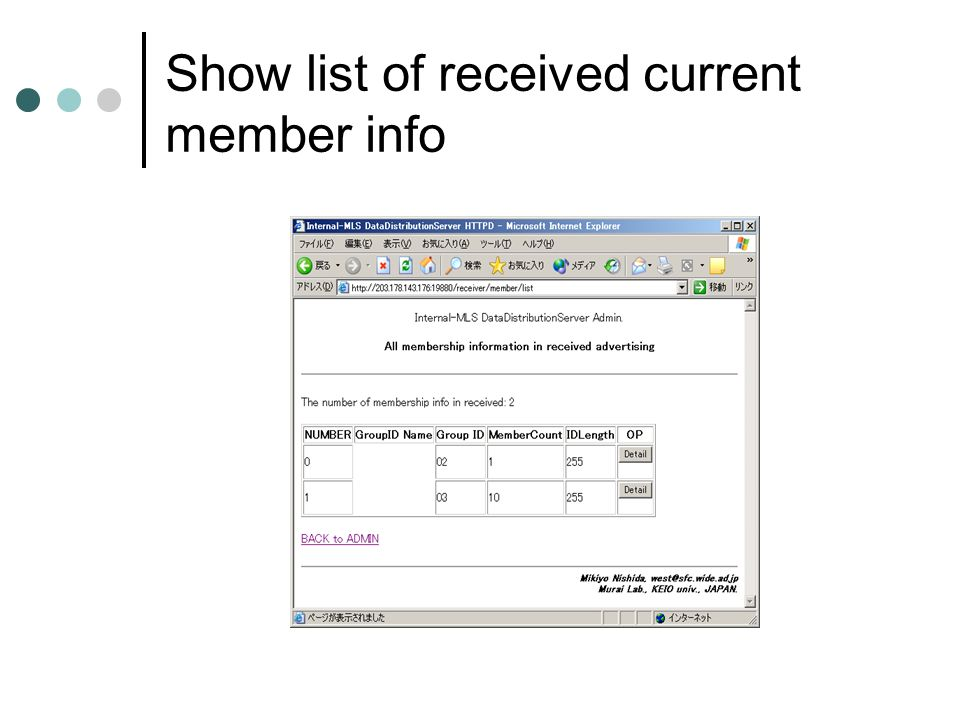 Show list of received current member info