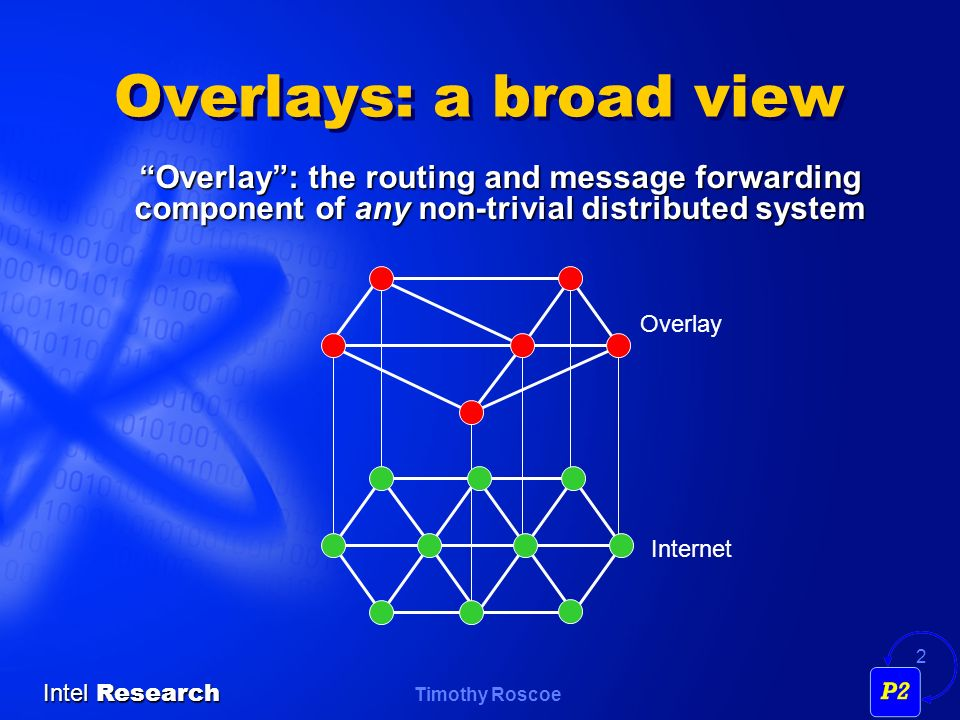 Timothy Roscoe Intel Research 2 Overlays: a broad view Overlay: the routing and message forwarding component of any non-trivial distributed system Internet Overlay