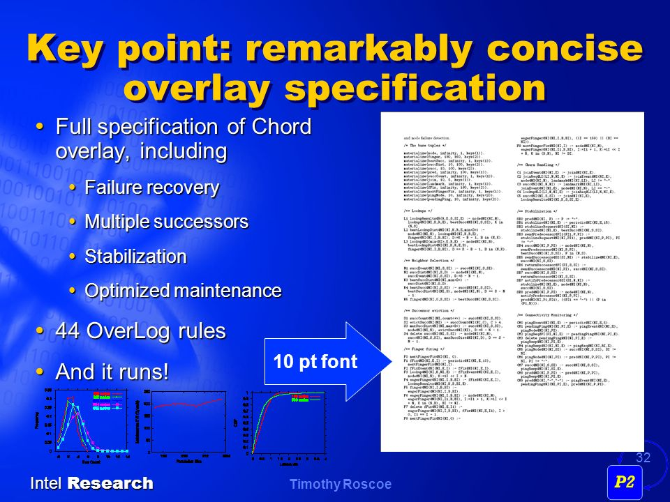 Timothy Roscoe Intel Research 32 Key point: remarkably concise overlay specification Full specification of Chord overlay, including Full specification of Chord overlay, including Failure recovery Failure recovery Multiple successors Multiple successors Stabilization Stabilization Optimized maintenance Optimized maintenance 44 OverLog rules 44 OverLog rules And it runs.