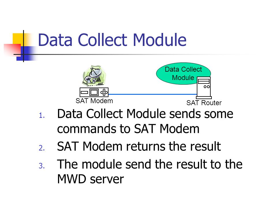 Data Collect Module 1. Data Collect Module sends some commands to SAT Modem 2.