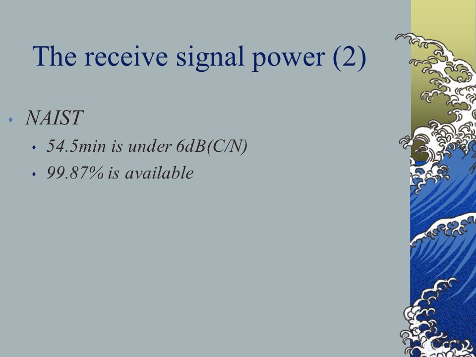 The receive signal power (2) s NAIST s 54.5min is under 6dB(C/N) s 99.87% is available