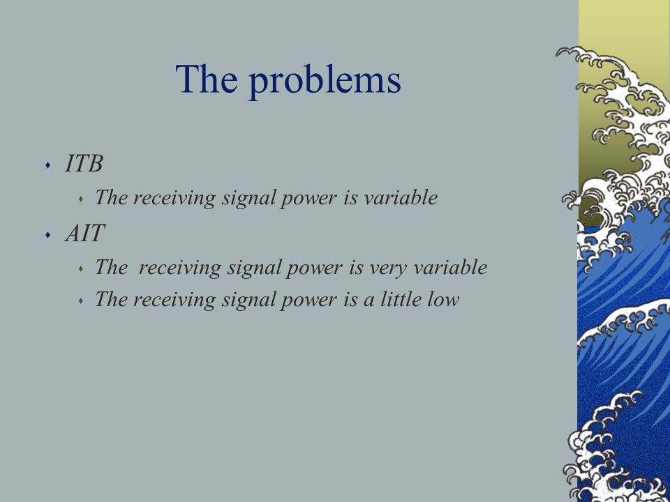 The problems s ITB s The receiving signal power is variable s AIT s The receiving signal power is very variable s The receiving signal power is a little low