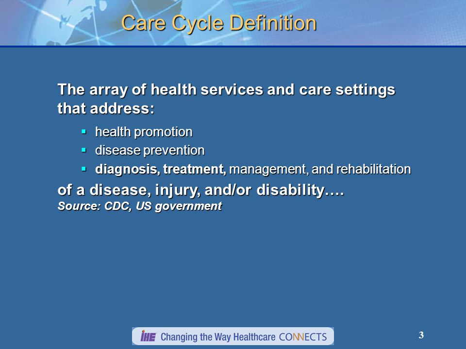 3 Care Cycle Definition The array of health services and care settings that address: health promotion health promotion disease prevention disease prevention diagnosis, treatment, management, and rehabilitation diagnosis, treatment, management, and rehabilitation of a disease, injury, and/or disability….