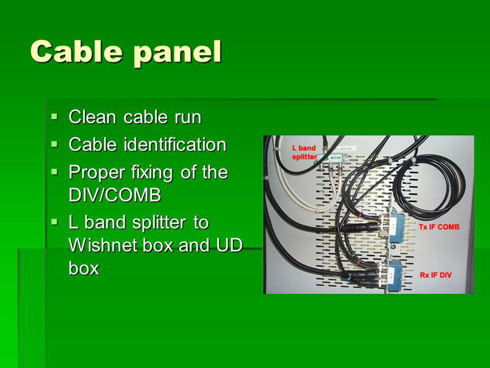 Cable panel Clean cable run Clean cable run Cable identification Cable identification Proper fixing of the DIV/COMB Proper fixing of the DIV/COMB L band splitter to Wishnet box and UD box L band splitter to Wishnet box and UD box