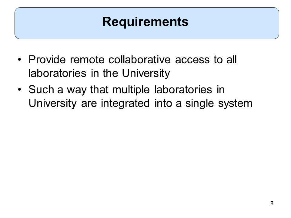8 Provide remote collaborative access to all laboratories in the University Such a way that multiple laboratories in University are integrated into a single system Requirements