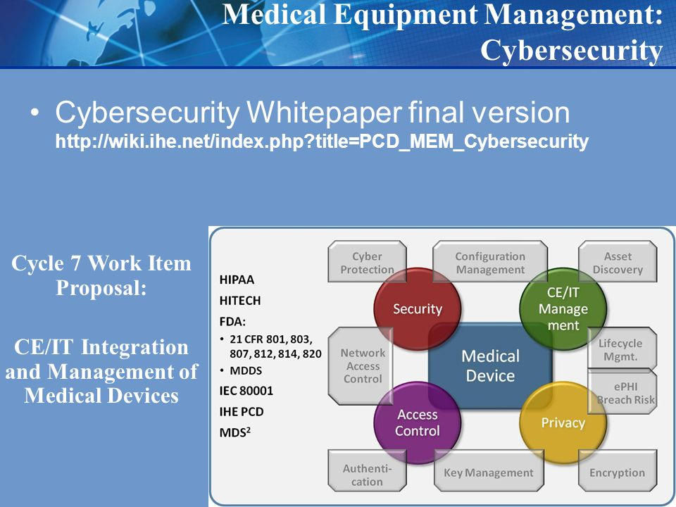 Medical Equipment Management: Cybersecurity Cybersecurity Whitepaper final version   title=PCD_MEM_Cybersecurity Cycle 7 Work Item Proposal: CE/IT Integration and Management of Medical Devices