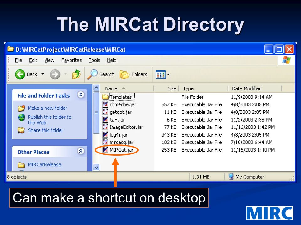 The MIRCat Directory Can make a shortcut on desktop