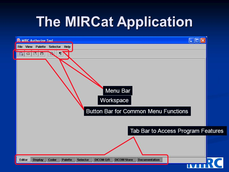 The MIRCat Application Menu Bar Button Bar for Common Menu Functions Tab Bar to Access Program Features Workspace