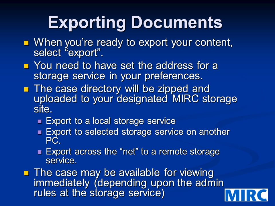 Exporting Documents When youre ready to export your content, select export.