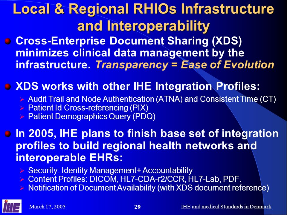 March 17, 2005IHE and medical Standards in Denmark 29 Local & Regional RHIOs Infrastructure and Interoperability Cross-Enterprise Document Sharing (XDS) minimizes clinical data management by the infrastructure.
