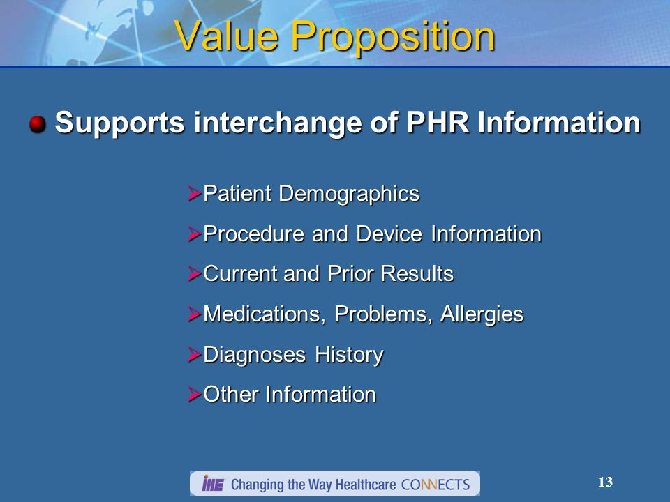 13 Value Proposition Supports interchange of PHR Information Patient Demographics Patient Demographics Procedure and Device Information Procedure and Device Information Current and Prior Results Current and Prior Results Medications, Problems, Allergies Medications, Problems, Allergies Diagnoses History Diagnoses History Other Information Other Information