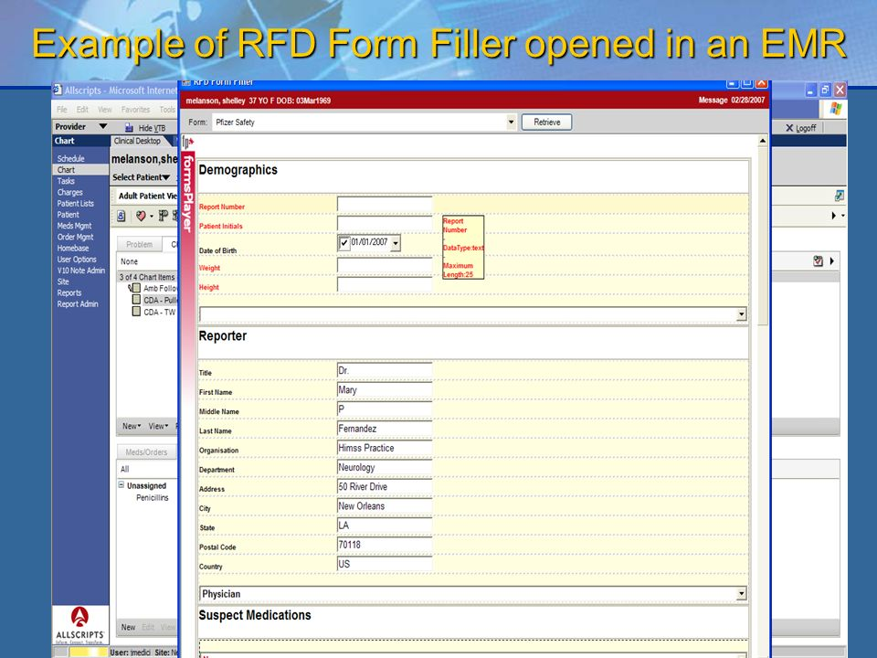 22 Example of RFD Form Filler opened in an EMR