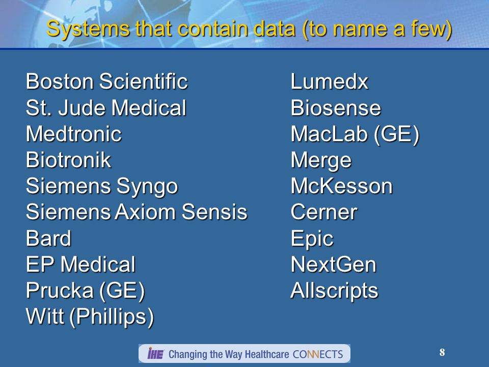 8 Systems that contain data (to name a few) Boston Scientific St.
