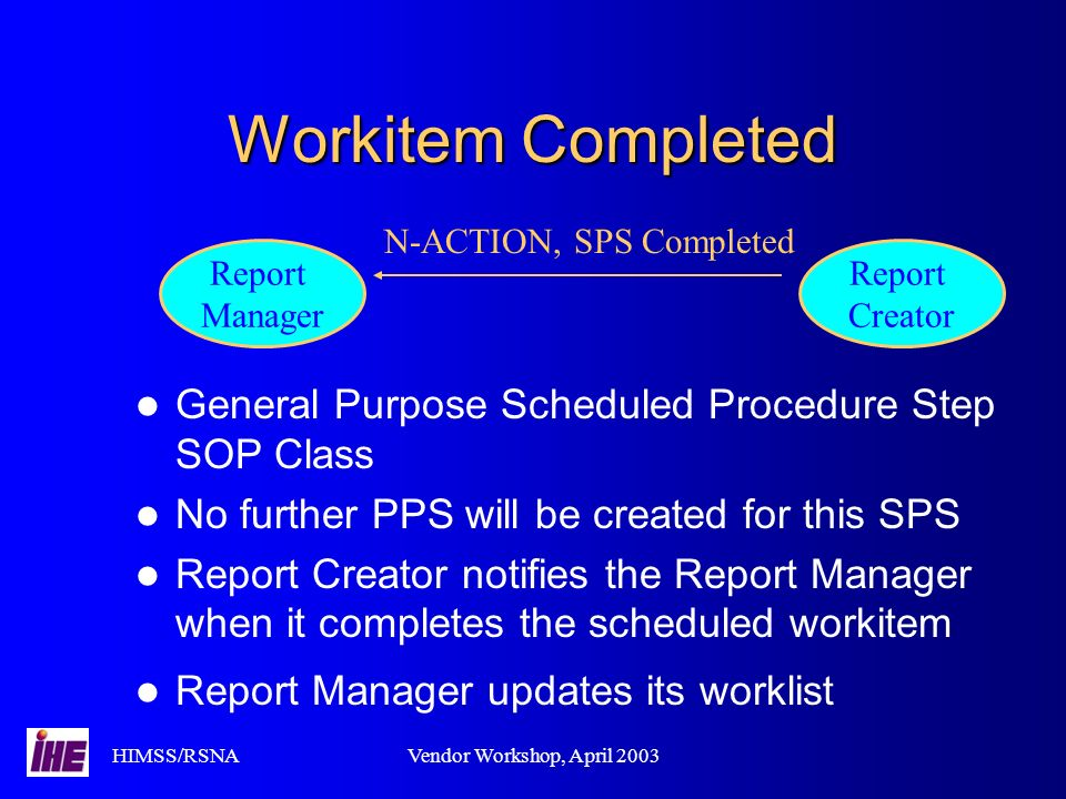 HIMSS/RSNAVendor Workshop, April 2003 Workitem Completed General Purpose Scheduled Procedure Step SOP Class No further PPS will be created for this SPS Report Creator notifies the Report Manager when it completes the scheduled workitem Report Manager updates its worklist Report Manager Report Creator N-ACTION, SPS Completed