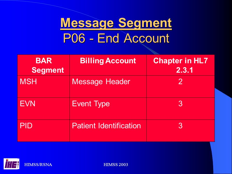 HIMSS/RSNAHIMSS 2003 Message Segment P06 - End Account BAR Segment Billing AccountChapter in HL7 2.3.1 MSHMessage Header2 EVNEvent Type3 PIDPatient Identification3