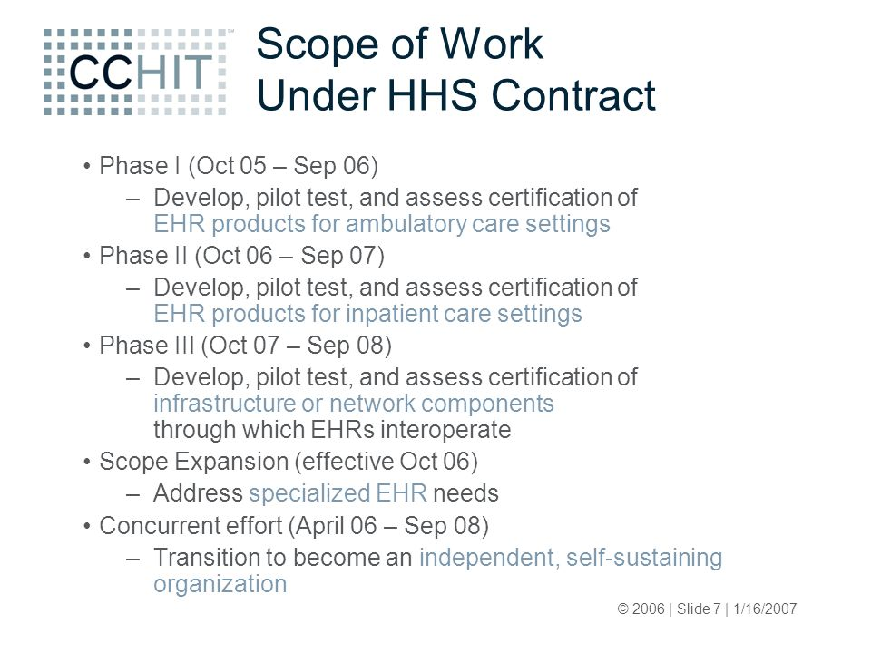 © 2006 | Slide 7 | 1/16/2007 Scope of Work Under HHS Contract Phase I (Oct 05 – Sep 06) –Develop, pilot test, and assess certification of EHR products for ambulatory care settings Phase II (Oct 06 – Sep 07) –Develop, pilot test, and assess certification of EHR products for inpatient care settings Phase III (Oct 07 – Sep 08) –Develop, pilot test, and assess certification of infrastructure or network components through which EHRs interoperate Scope Expansion (effective Oct 06) –Address specialized EHR needs Concurrent effort (April 06 – Sep 08) –Transition to become an independent, self-sustaining organization