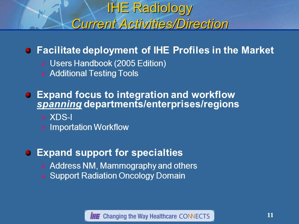 11 IHE Radiology Current Activities/Direction Facilitate deployment of IHE Profiles in the Market Users Handbook (2005 Edition) Additional Testing Tools Expand focus to integration and workflow spanning departments/enterprises/regions XDS-I Importation Workflow Expand support for specialties Address NM, Mammography and others Support Radiation Oncology Domain