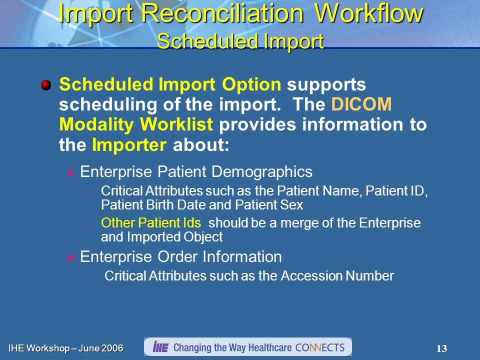 IHE Workshop – June Import Reconciliation Workflow Scheduled Import Scheduled Import Option supports scheduling of the import.