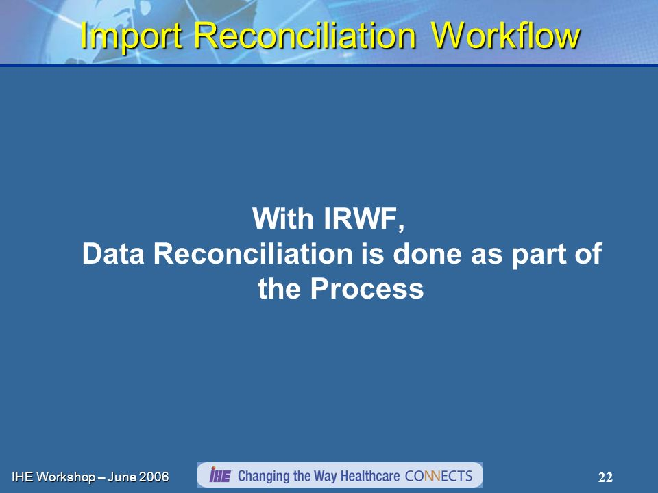 IHE Workshop – June Import Reconciliation Workflow With IRWF, Data Reconciliation is done as part of the Process