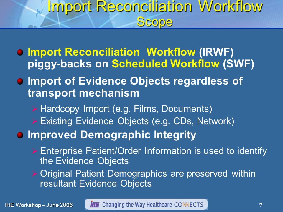 IHE Workshop – June Import Reconciliation Workflow Scope Import Reconciliation Workflow (IRWF) piggy-backs on Scheduled Workflow (SWF) Import of Evidence Objects regardless of transport mechanism Hardcopy Import (e.g.