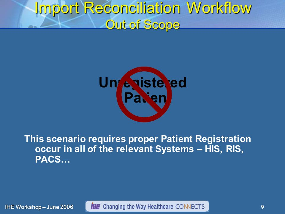 IHE Workshop – June Import Reconciliation Workflow Out of Scope Unregistered Patient This scenario requires proper Patient Registration occur in all of the relevant Systems – HIS, RIS, PACS…