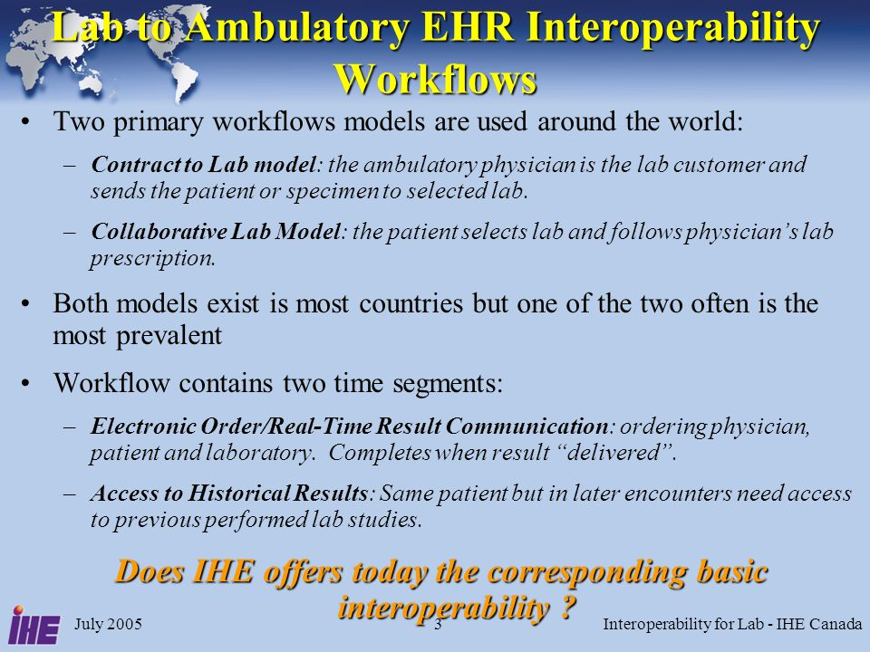 July 2005Interoperability for Lab - IHE Canada3 Lab to Ambulatory EHR Interoperability Workflows Two primary workflows models are used around the world: –Contract to Lab model: the ambulatory physician is the lab customer and sends the patient or specimen to selected lab.