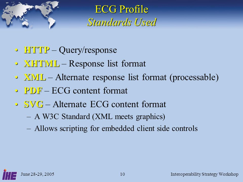 June 28-29, 2005Interoperability Strategy Workshop10 ECG Profile Standards Used HTTPHTTP – Query/response XHTMLXHTML – Response list format XMLXML – Alternate response list format (processable) PDFPDF – ECG content format SVGSVG – Alternate ECG content format –A W3C Standard (XML meets graphics) –Allows scripting for embedded client side controls