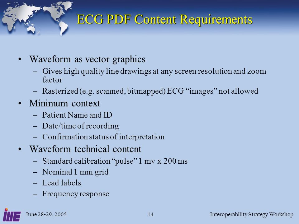 June 28-29, 2005Interoperability Strategy Workshop14 ECG PDF Content Requirements ECG PDF Content Requirements Waveform as vector graphics –Gives high quality line drawings at any screen resolution and zoom factor –Rasterized (e.g.