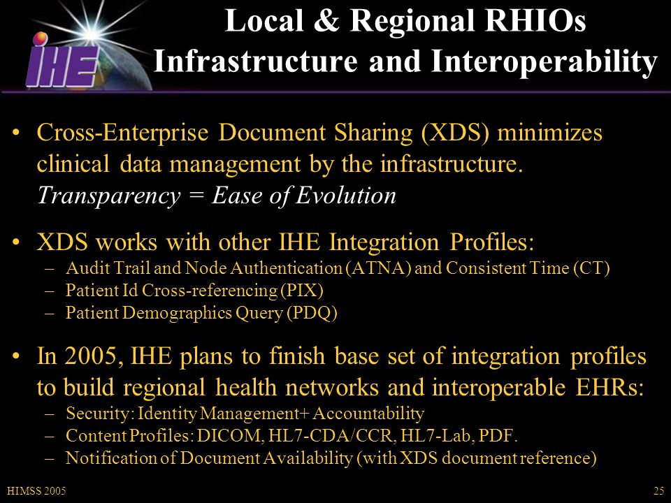 HIMSS 200525 Local & Regional RHIOs Infrastructure and Interoperability Cross-Enterprise Document Sharing (XDS) minimizes clinical data management by the infrastructure.